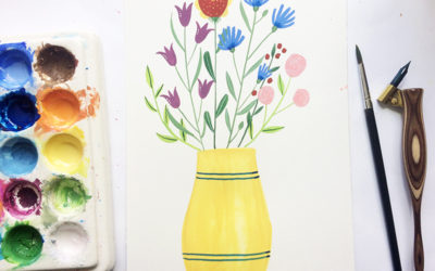 Painting a vase with flowers in gouache