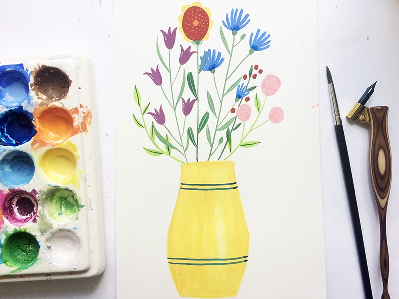 Painting A Vase With Flowers In Gouache Julia Bausenhardt