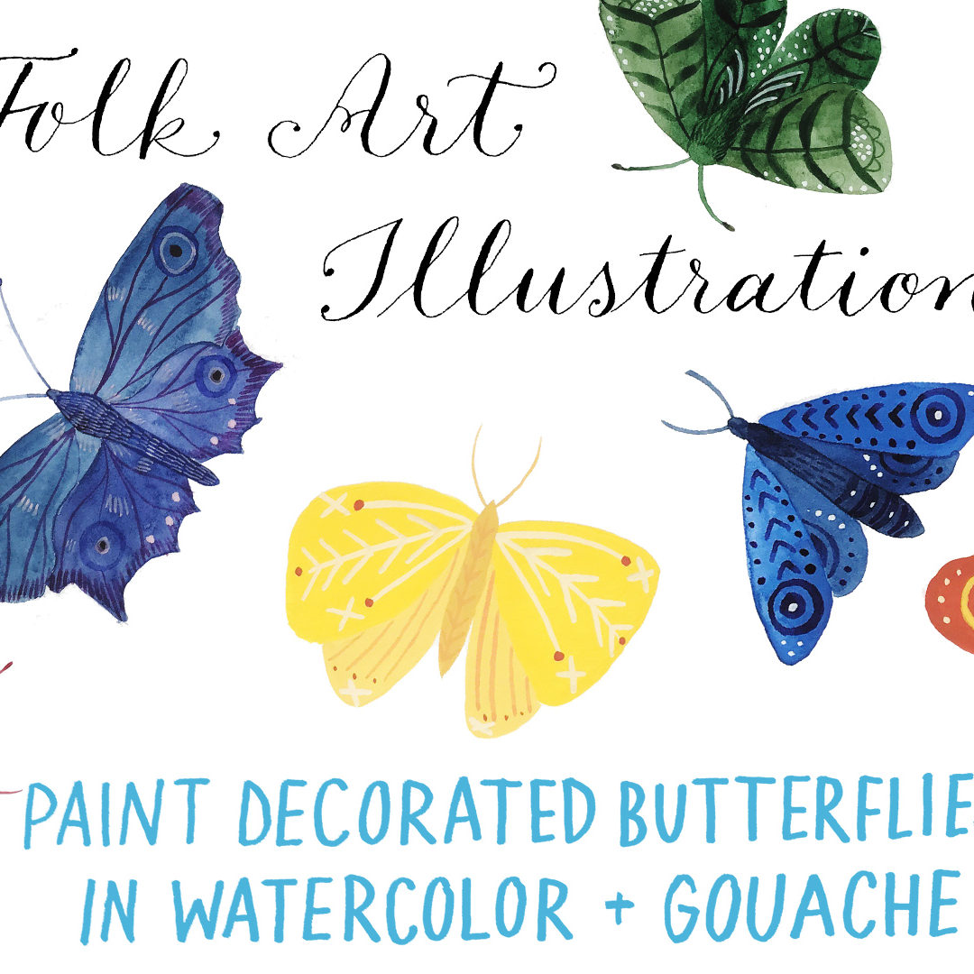 Paint decorated butterflies in watercolor & gouache – new Skillshare class!