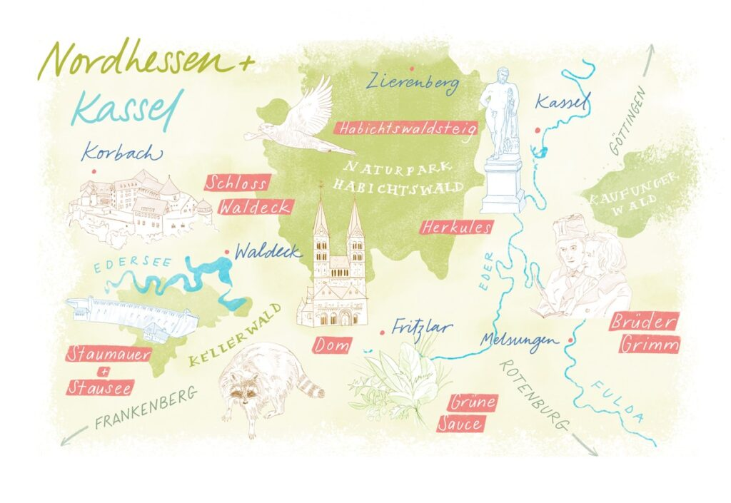 Kassel Map Julia Bausenhardt Illustration Nature Sketching